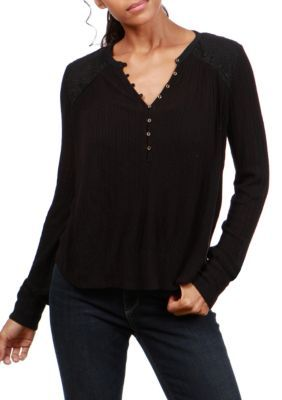Lucky Brand Women's Embroidered Mixed Henley Top - Lucky - Xs