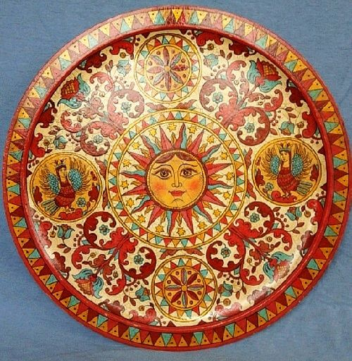 Sun. Plate decorative hand-painted in Severodvinsk style. For interior decoration in the Russian style