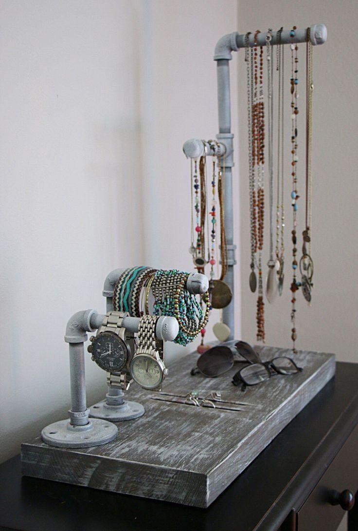 Industrial jewelry organizer, industrial jewlerly stand, wood jewelry organizer, jewelry, wood jewelry stand, hanging jewlery organizer by RustasticWood on Etsy https://www.etsy.com/listing/399375427/industrial-jewelry-organizer-industrial