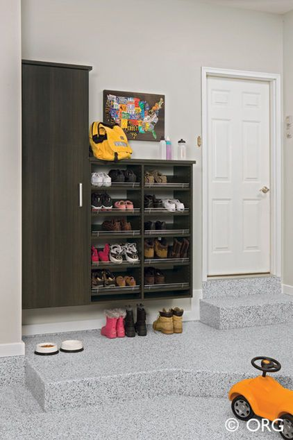 If you have a garage that your family uses to enter and exit the home, consider placing your shoe storage out there. This works best for play shoes and muddy boots.