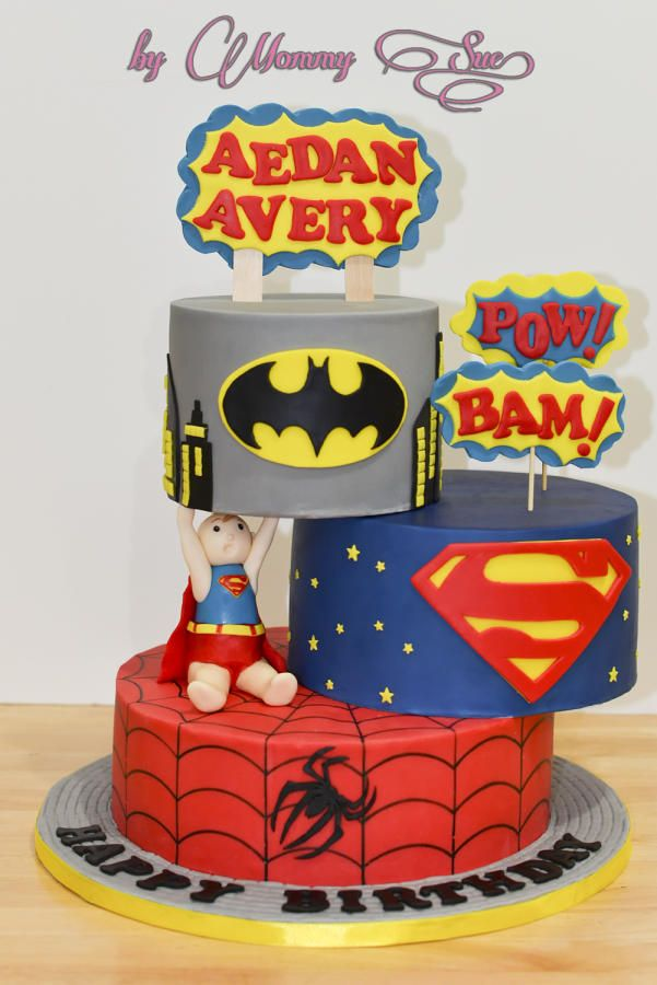 After playing around with my previous Frozen cake with a simple defying gravity cake….I tried it again here with my Super Kid cake along with the other superheroes. First idea was to offset the 2nd & 3rd tier cake to the left just like what I...