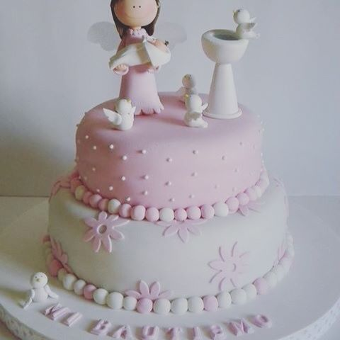 Torta para bautismo niña #tortasensantiago #tortasenchile #tortaschile #tortas #torta #tortabautizo #tortabautismo