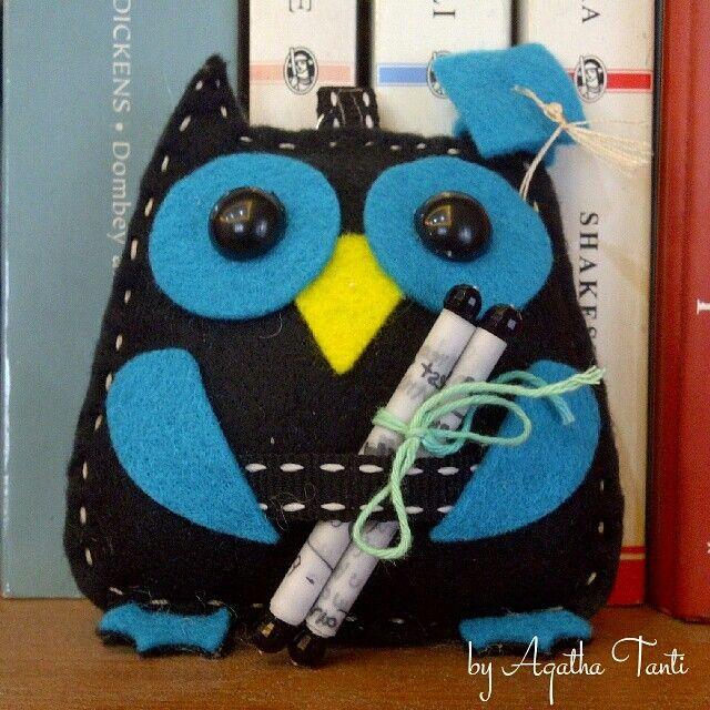 #ODOPDay29 Tema : Animal 《 Owl Keychain from flanel 》