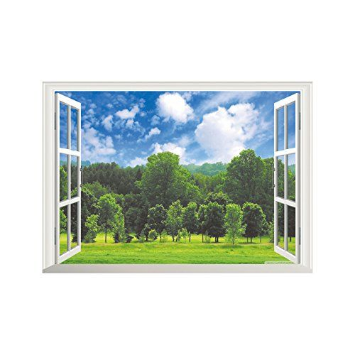 17 97 Winhappyhome Forest Scene Fake Window Wall Art Stickers For Bedroom Living Room Coffee Shop Background Remov Sticker Wall Art Fake Window Window Wall