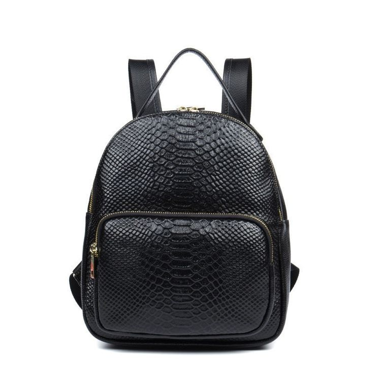 High-Quality Genuine Leather Fashion Trend Croc Pattern Ladies Backpack 2 Colors