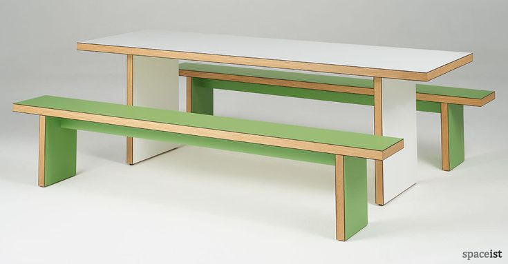 Cool green and white school refectory table and benches