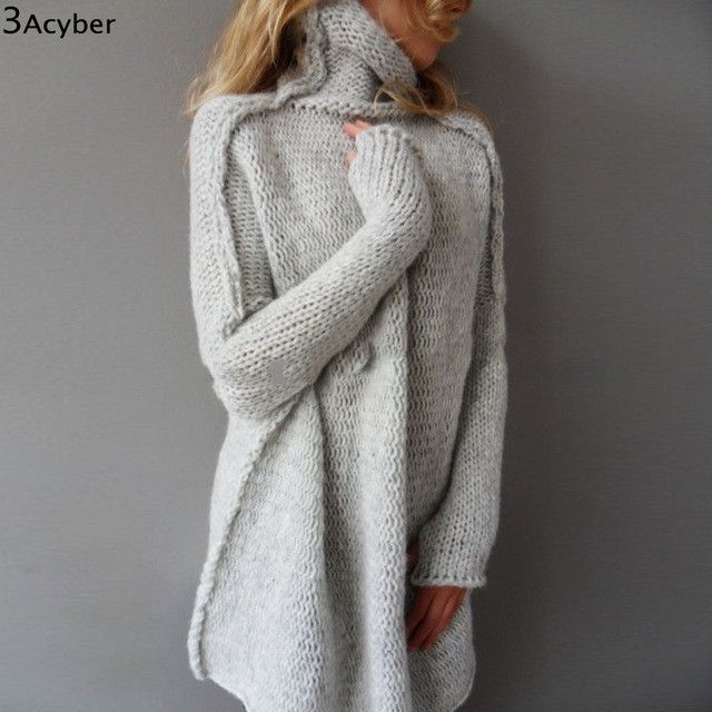 Long Knit Turtle Neck Sweater