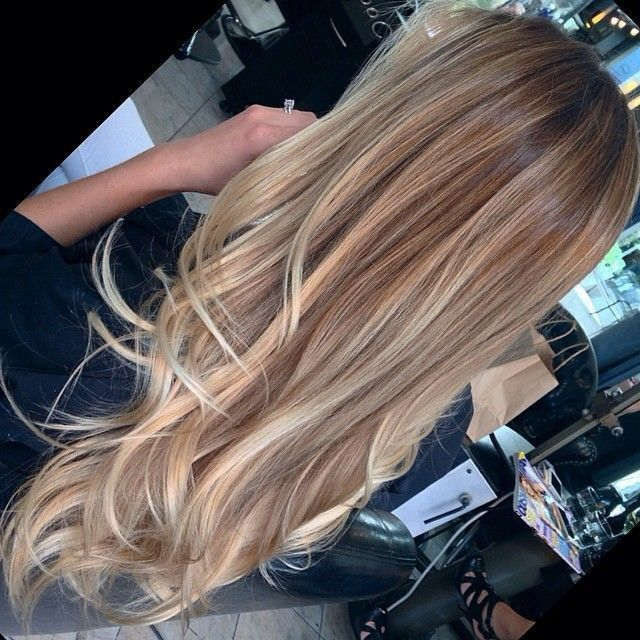 What I eventually want to get to: dark blonde base and balayage highlights.