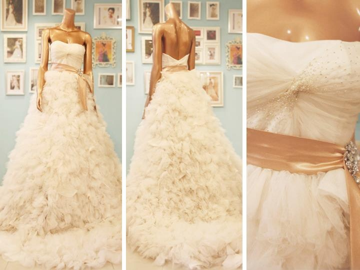 Wedding ball gown with ruffled / gathered skirt made of chiffon.