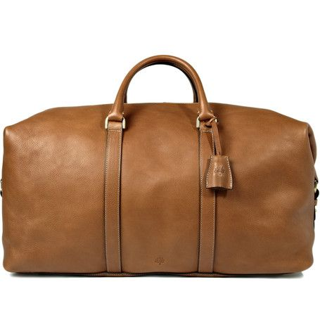 Mulberry Clipper Leather Holdall Bag, this is such a GREAT weekend bag. Just enough room for everything you would need for a weekend anywhere in the world and it's in my favorite color...British Tan  | MR PORTER