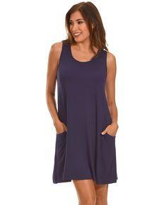 Polagram Womens Navy Lace Up Back Tank Dress , Navy