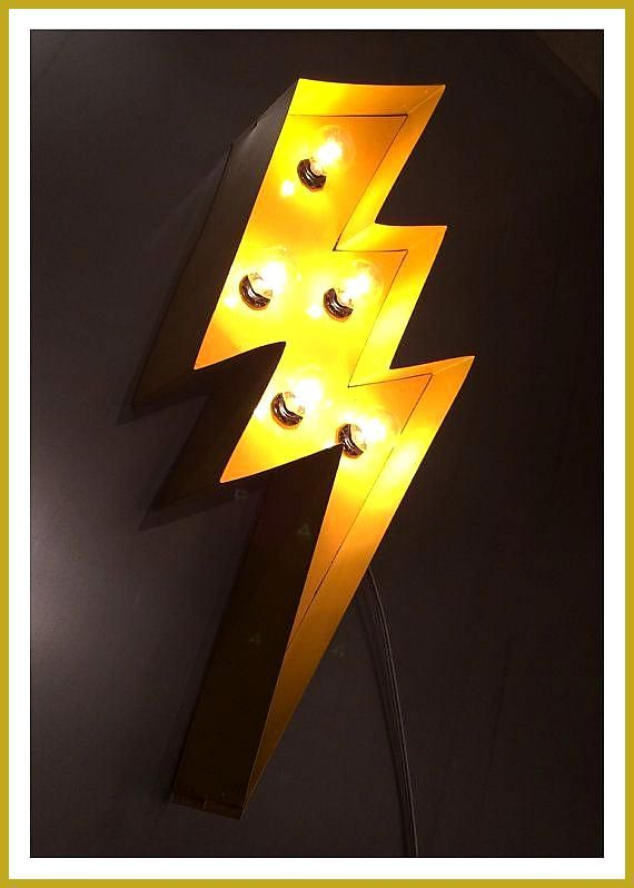 Lightning Bolt Marquee 24 8243 Light Up Sign Yellow Babyzimmerstreichengelb Light Lightning Marquee Yellow In 2020 Lampendesign Design Lampen Lampe
