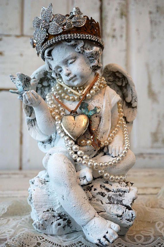 Angel Cherub Statue Holding Blue Bird Shabby Cottage Chic