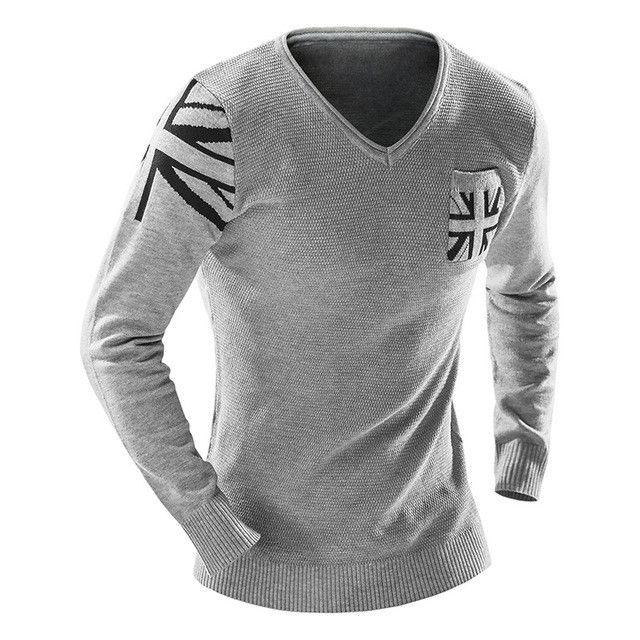 V-Neck Long Sleeve UK Flag Man Sweaters Slim Fitness Elastic Pullovers Pocket Design Casual Knitwear Fashion Men Clothing
