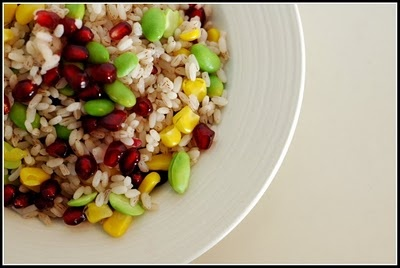Rose Matta Rice (Kerala Red Rice), pictured with edamame, corn, and pomegranate