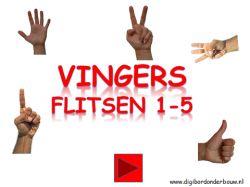 Digibordles vingers flitsen 1 tot en met 5. http://digibordonderbouw.nl/index.php/themas/lichaam/lichaam/viewcategory/394-lichaam-digibordlessen