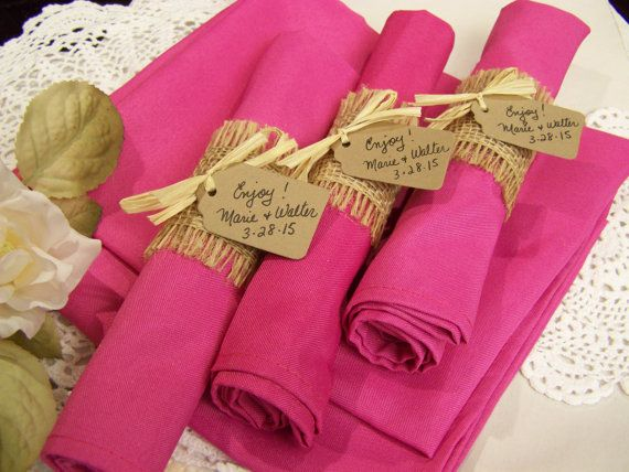 burlap wedding 25 napkins and rings fuschia by