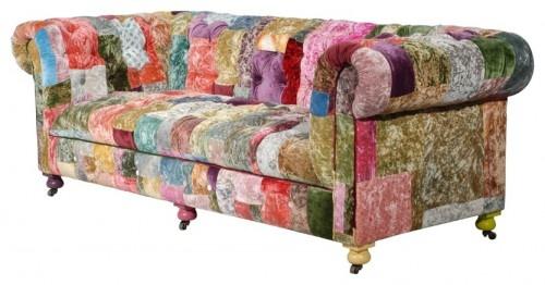 Velvet patchwork sofa