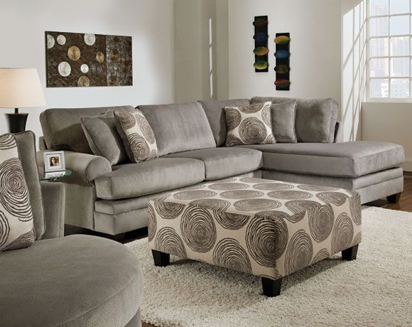 Groovy Grey 2 PC Sectional Sofa Living Rooms American Freight - american freight living room sets