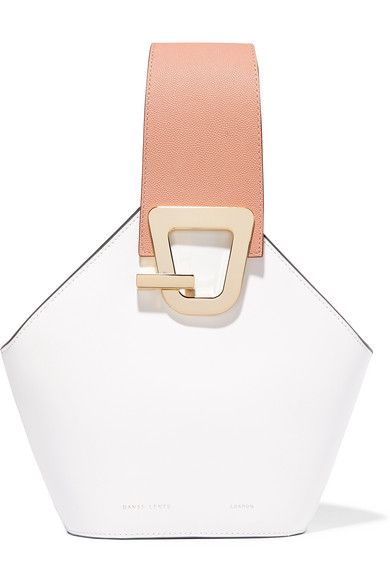 Danse Lente's collections are inspired by Constantin Brâncuși's sculptures. This 'Johnny' bucket bag is made from smooth white leather in a geometric silhouette outlined with gray painted edges. It has polished gold hardware and a contrasting textured antique-rose top handle. Carry it by the optional navy shoulder strap.