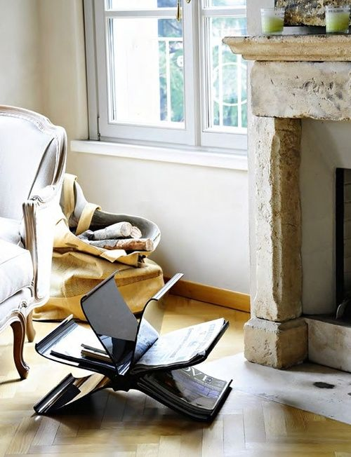 This is actually a picture for the magazine rack by Kartell but I Love the fireplace!