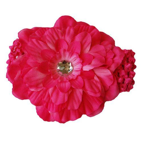 Bright Pink Peony Flower Headband
