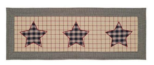 """Bingham Star 13"""" x 36"""" Table Runner by Victorian Heart Co., Inc.. $13.95. Dimensions: 13"""" x 36"""". Available in tabletop, quilts, bedding accessories, and window treatments.. Sold individually. 100% cotton, machine washable. Bingham Star quilted items feature a block pattern with 5 point stars and strip blocks in charcoal, garnet and sand. This runner is 100% cotton and measures 13""""x36"""". The front features three 5 point stars in a red and black plaid fabric appliquéd onto..."""