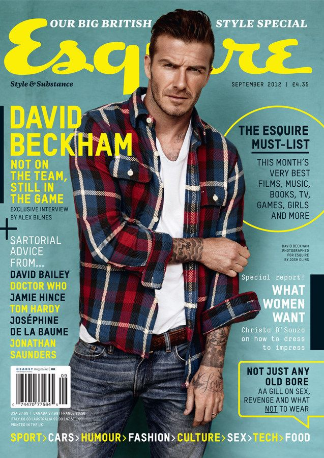 David Beckham is the Perfect Man for Esquire UK: Style Icons, Men Fashion, David Beckham, Covers Photo, Plaid Shirts, Davidbeckham, Magazines Covers, Canon Eos, Esquir Uk