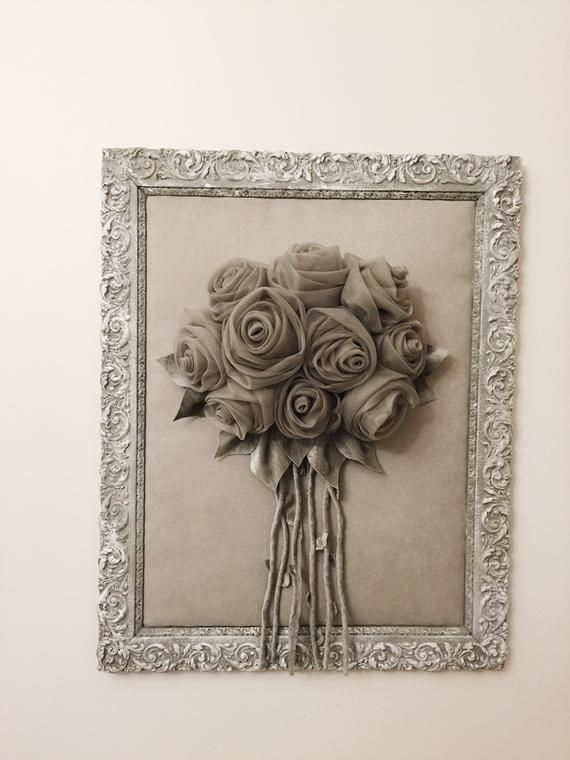 Antique Frame 3d Wall Art Flowers Bouquet In Frame Gray Wall
