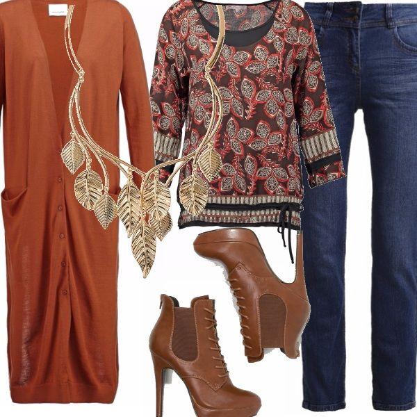 Il tema di questo outfit sono le foglie, d'autunno naturalmente. Ho pensato di abbinare ad un maxi cardigan color mattone intenso, una blusa con un modello che sta bene a tutte, soprattutto a quelle con tanto seno. Il denim blu ed un bel tacco cognac. Vi piace l'accessorio?