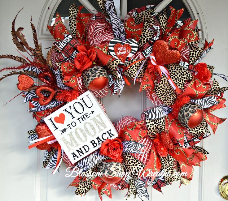 Valentine Wreath, Deco Mesh Wreath, Animal Print Wreath, Zebra Wreath, Door Wreath, Valentine Deco Mesh, Door Decor, Valentine Gift, Wreath by BlossomShopWreaths on Etsy