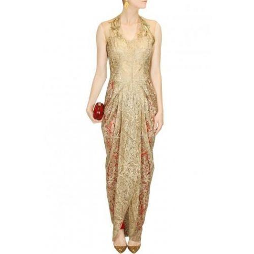 Gorgeous Gold Lace Draped Kurta Set By Gaurav Gupta #Dhotistyle #Fashion #kurti #Party #Wedding
