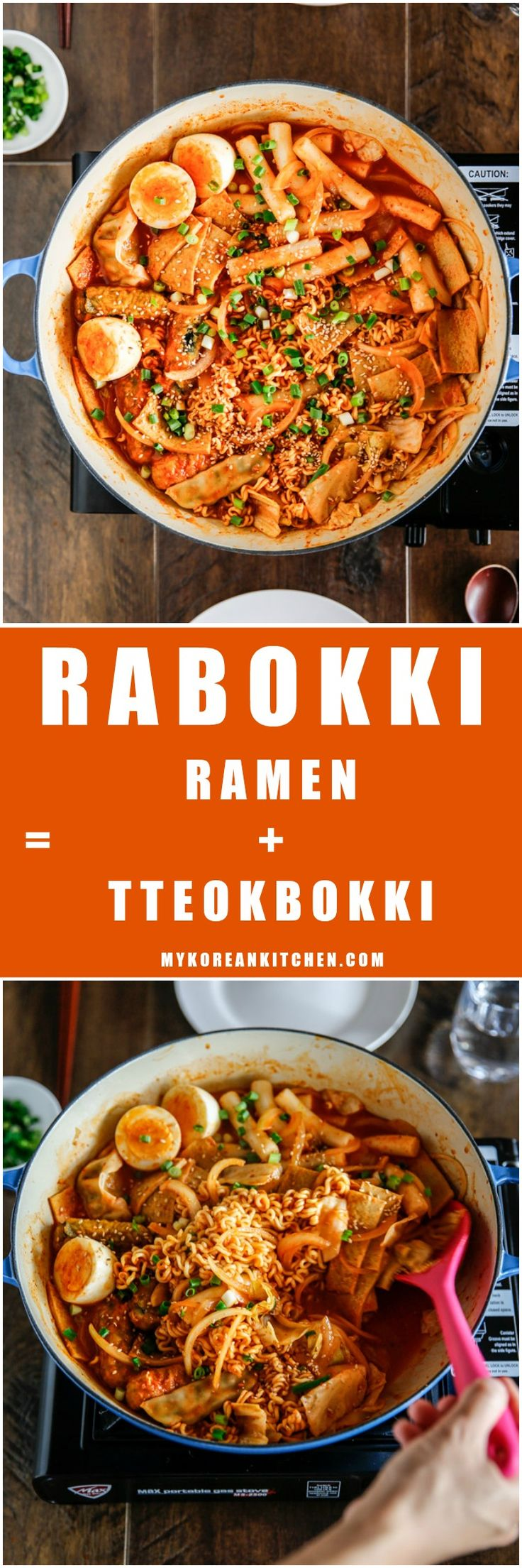 Rabokki - Instant Ramen Noodles + Tteokbokki (Korean spicy rice cakes)   MyKoreanKitchen.com