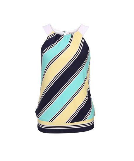 Striped Halter Top in Aqua/Lemon/Navy Stripe . Shop now - or find your Ricki's store - at www.rickis.com #rickis #summer2014