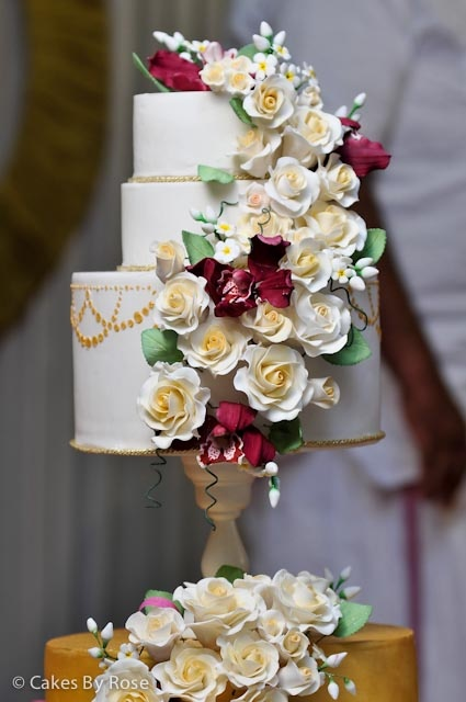 Roses and Orchid wedding cake