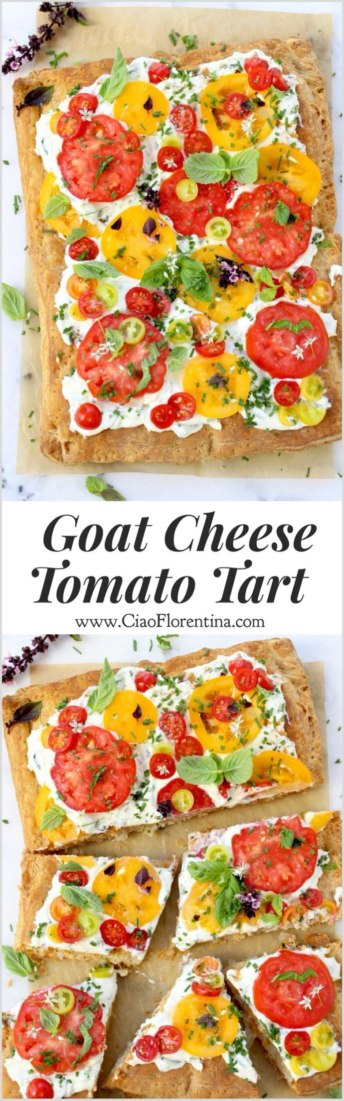 Heirloom Tomato Tart with Whipped Goat Cheese and Puff Pastry | CiaoFlorentina.com @CiaoFlorentina