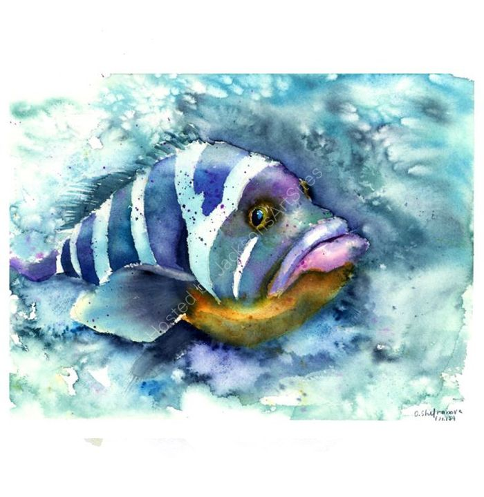 Watercolor Art Prints By Paintispassion Fish Art Sea Life