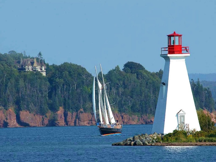 Sailing past the Bell family homestead, Bras D'or Lakes, Cape Breton.