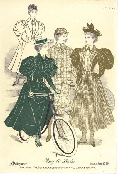 Bicycle Suits illustration. from The Delineator, September 1896. Published by The Butterick Publishing Co.