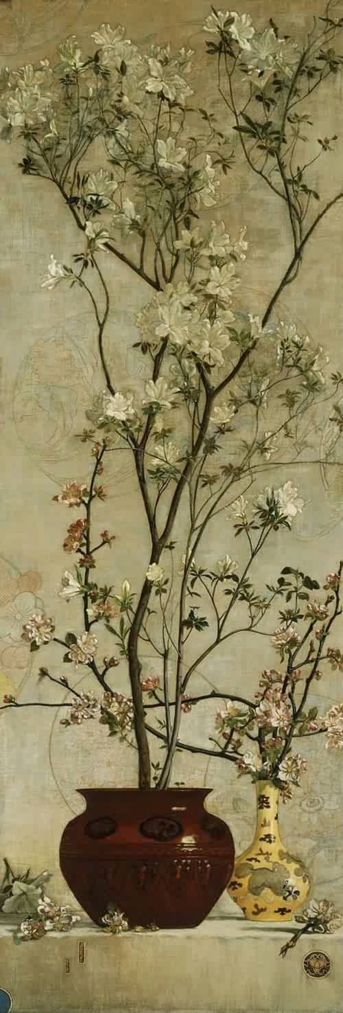 Still Life with Azaleas and Apple Blossoms, 1878, Charles Caryl Coleman. American-born Italian Painter (1840-1928)