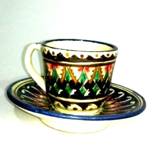 """Tea Set Craft of Uzbekistan To your attention is invited to the Uzbek national crockery - """"Tea set"""". He is a fine handmade by folk craftsman and is made of ceramic, has a size of 11 cm diameter plates , cups height 5 cm, diameter of cup 7 cm, weight 500 grams."""