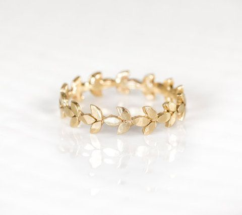 14k Gold Vine Wedding Band, Handmade Jewelry by Melanie Casey