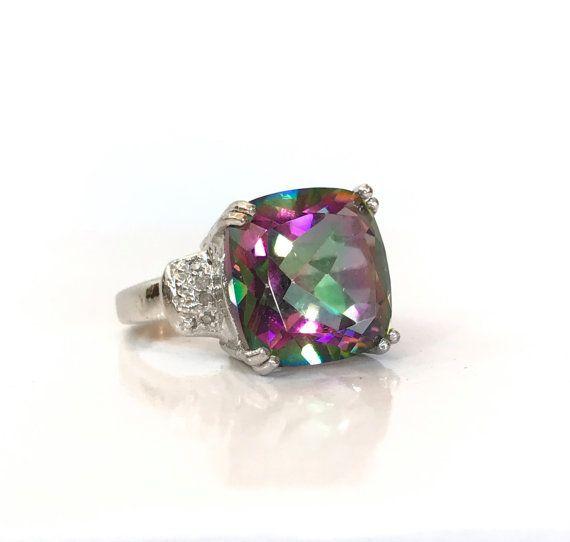 Topaze mystique NATURELLE diamant bague 9 1 / 2CT coussin