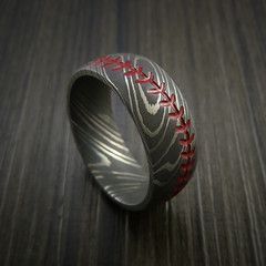 Damascus Steel Baseball Ring with Acid Wash Finish - Baseball Rings  - 1
