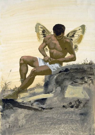 """Poster - Yannis Tsarouchis: """"Winged spirit buttoning his underpants, 1966. Dimensions: 48x68 cm  © Yannis Tsarouchis foundation."""