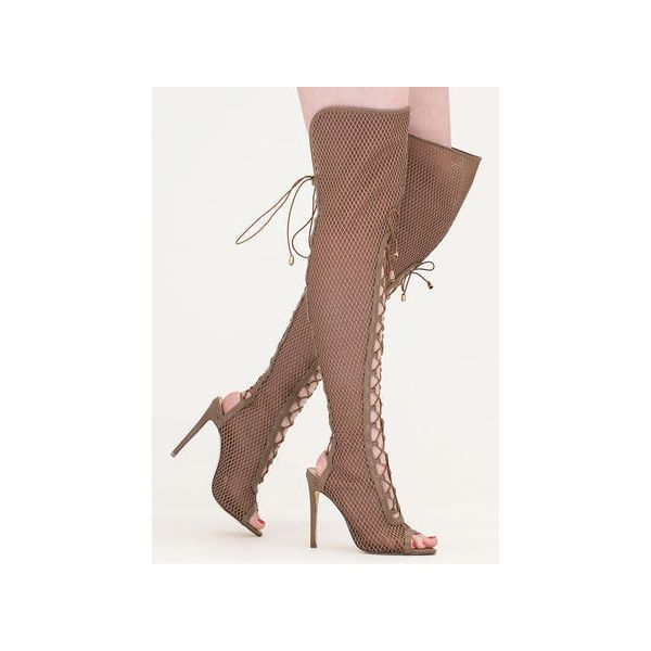 Lace Me Up Netted Mesh Thigh-High Boots ($64) ❤ liked on Polyvore featuring shoes, boots, over-the-knee boots, tan, tan thigh high boots, tall lace up boots, tan over the knee boots, over the knee thigh high boots and stretch thigh high boots