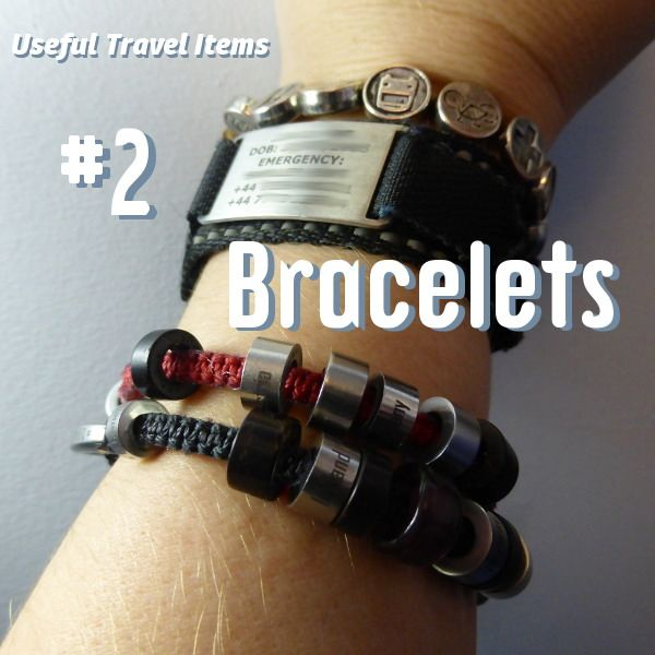 I'm gaining quite the little collection of travel bracelets – it's got to the point where it's not actually that comfortable to wear them all.I wear a watch any time I'm out of the house, a big chunky metal one, and I don't like wearing bracelets on the same wrist because of the way they… More Useful travel items: bracelets