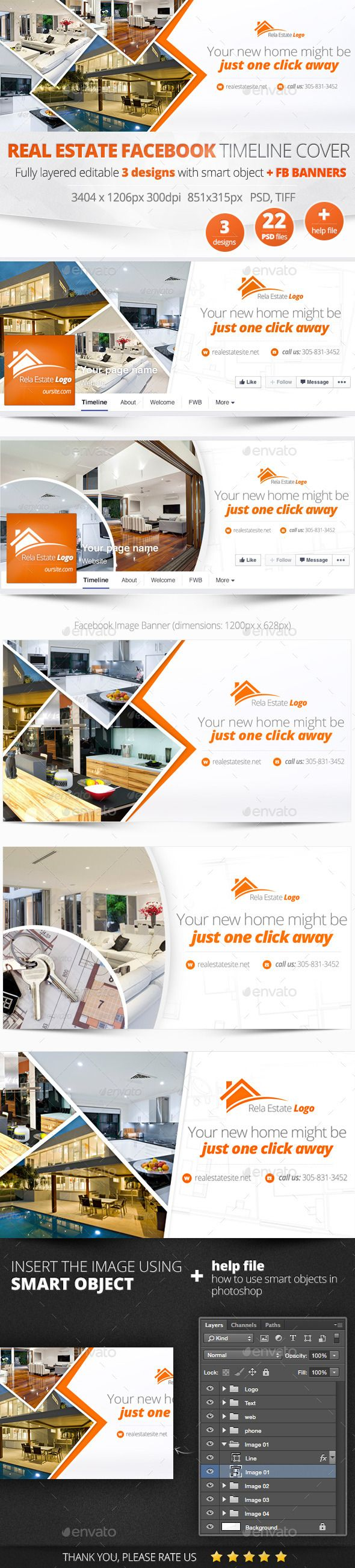 Real Estate Facebook Covers and Banners Templates PSD #design Download: http://graphicriver.net/item/real-estate-facebook-covers-and-banners/11177115?ref=ksioks