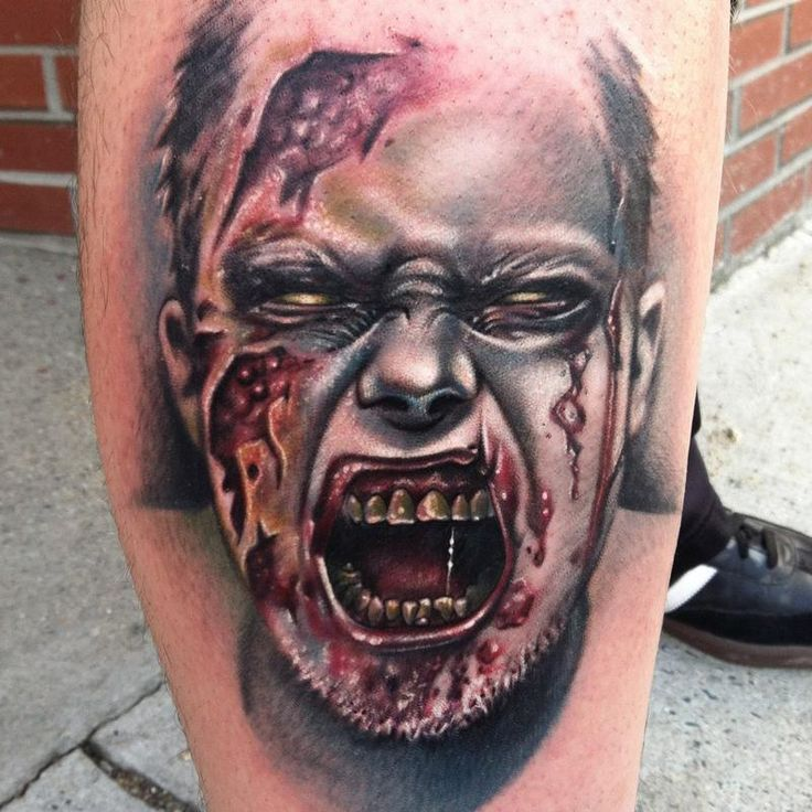 Off the Map Tattoo : Tattoos : Body Part Leg Sleeve : Screaming zombie
