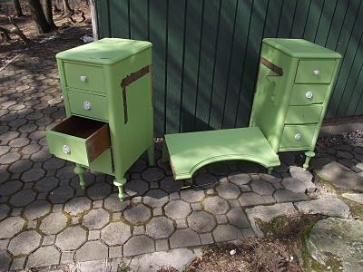 Vanity turned into two matching bedside tables (night stands).  DIY Wonder if I could do the opposite with two night stands and make a vanity / dressing table....  Think I might just try it!